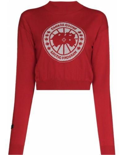 Красный шерстяной вязаный длинный свитер Canada Goose