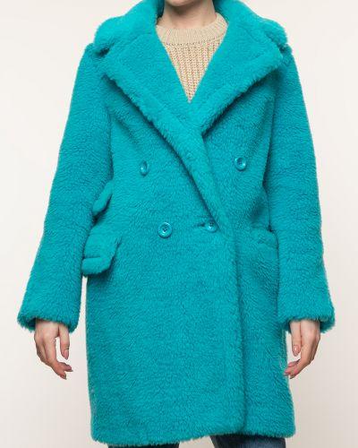 Бирюзовое шерстяное пальто с воротником Aliance Fur