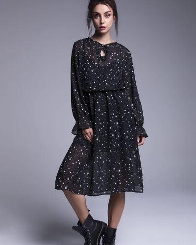 Расклешенное черное платье миди с поясом Naoko