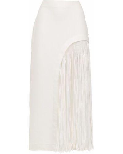 Прямая юбка миди с бахромой в рубчик Mara Mac