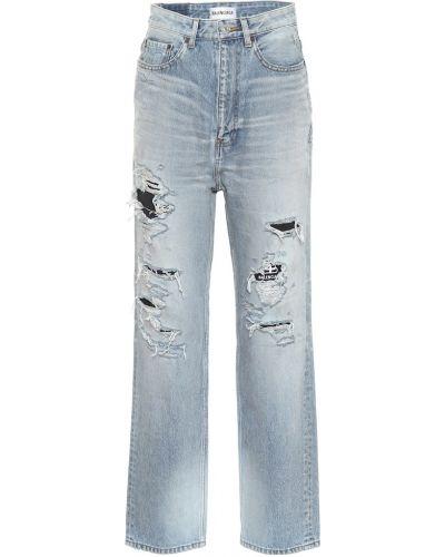 Bawełna prosto bawełna czarny jeansy na wysokości Balenciaga