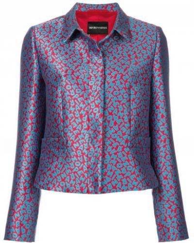 Синий пиджак блестящий Emporio Armani