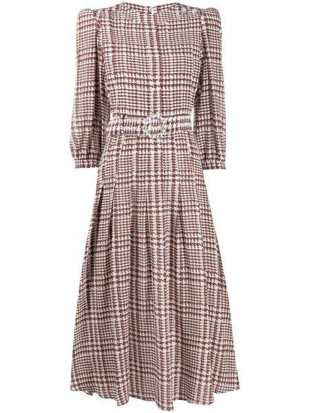 Платье миди плиссированное с поясом Alessandra Rich