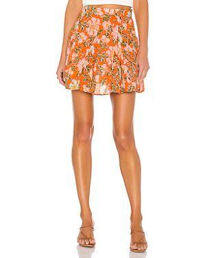 Хлопковая оранжевая расклешенная юбка на молнии Free People