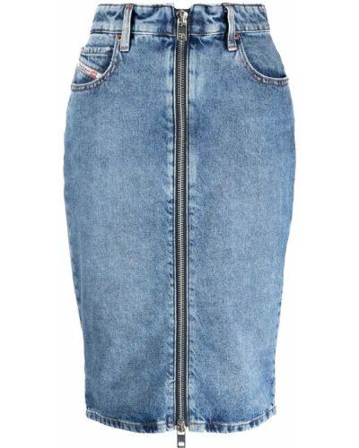 Хлопковая синяя юбка карандаш на молнии Diesel