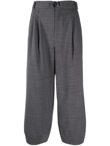 Spodni wełniany przycięte spodnie z kieszeniami z łatami Tibi