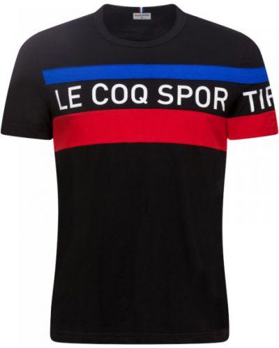 Czerwony t-shirt w paski bawełniany Le Coq Sportif