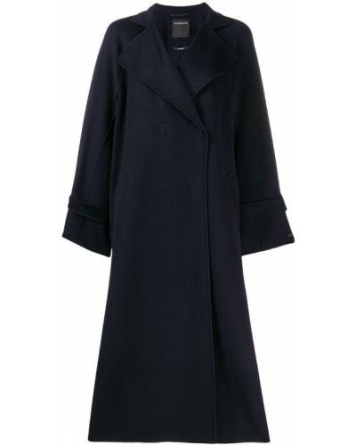 Синее длинное пальто с капюшоном Sport Max Code