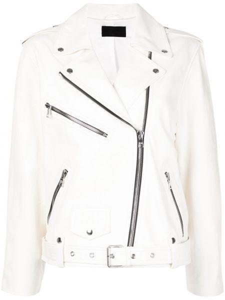 Белая кожаная куртка байкерская Rta