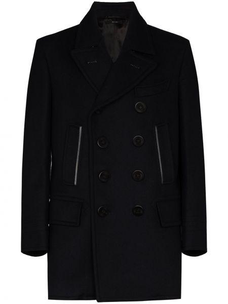 Czarny wełniany płaszcz z kieszeniami z klapami Tom Ford