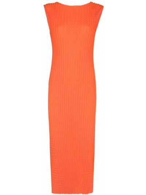 Оранжевое хлопковое платье миди без рукавов Issey Miyake