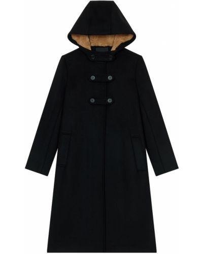 Пальто с капюшоном оверсайз шерстяное Maje