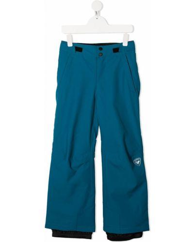 Брючные прямые синие прямые брюки с вышивкой Rossignol Kids