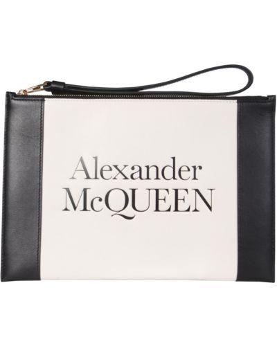 Biała złota kopertówka na co dzień Alexander Mcqueen