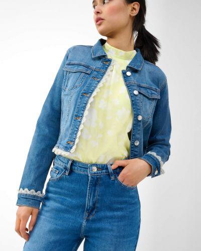 Niebieska kurtka jeansowa bawełniana z długimi rękawami Orsay