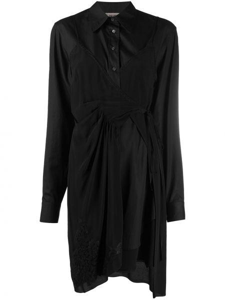 Асимметричное классическое платье на пуговицах с воротником N°21
