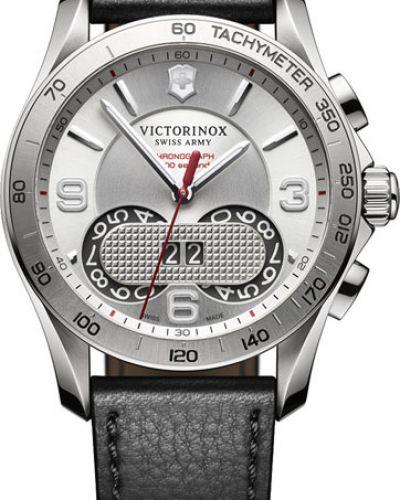 Часы водонепроницаемые с подсветкой с кожаным ремешком Victorinox