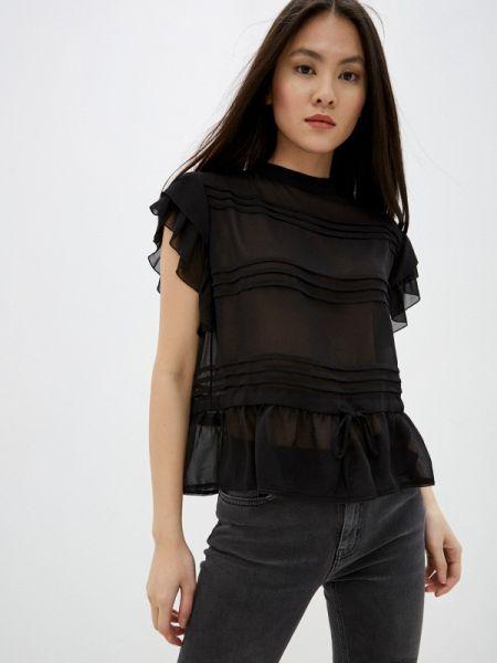 Блузка с коротким рукавом черная весенний High
