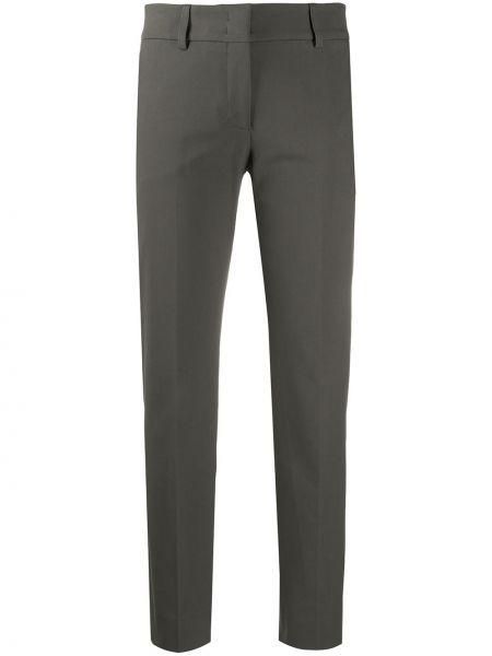 Хлопковые брюки-сигареты серые брюки средние Piazza Sempione
