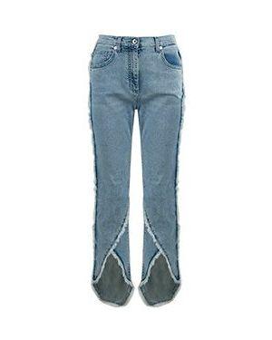 Синие укороченные джинсы в стиле бохо Blumarine