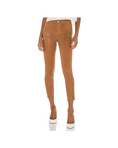 Хлопковые коричневые джинсы-скинни с карманами на молнии L'agence