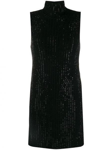 Приталенное шерстяное черное платье мини Ermanno Scervino