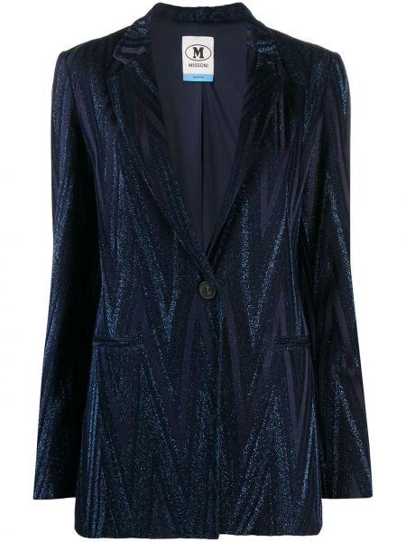 Хлопковый синий удлиненный пиджак с карманами M Missoni