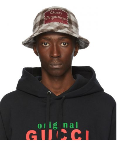 Włókienniczy biały kapelusz prążkowany z łatami Gucci