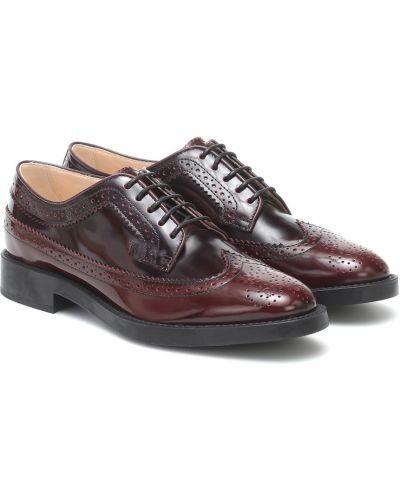 Brązowy skórzany buty brogsy Tod's