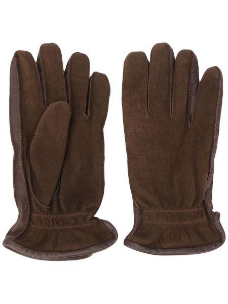 Brązowy skórzany rękawiczki z prawdziwej skóry za pełne Ermenegildo Zegna