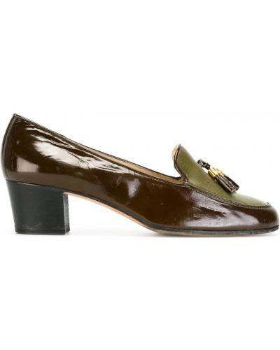 Коричневые лоферы на каблуке винтажные с кисточками Céline Pre-owned