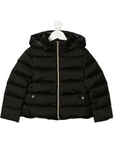 Черное пуховое длинное пальто с капюшоном Herno Kids