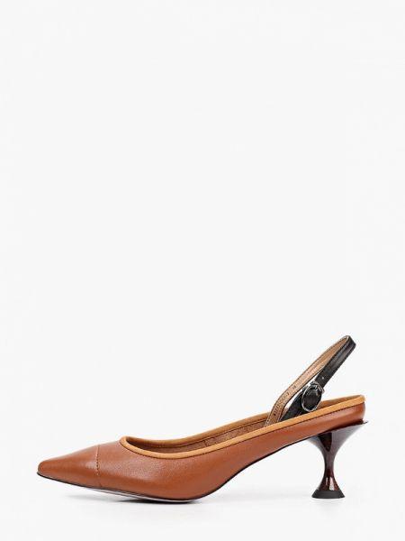 Коричневые кожаные туфли с открытой пяткой из натуральной кожи Graciana