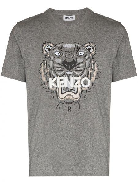Серая футболка короткая Kenzo