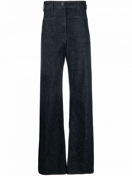 Широкие джинсы с завышенной талией - синие Lemaire