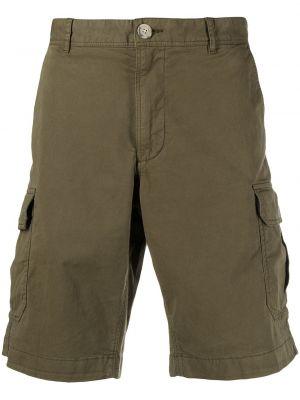 Зеленые хлопковые шорты карго с карманами Woolrich
