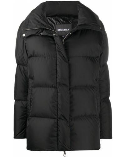 Черное пуховое длинное пальто с карманами Duvetica