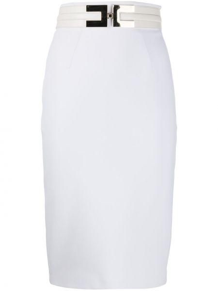Белая приталенная юбка миди на молнии с поясом Elisabetta Franchi