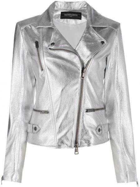 Серебряная кожаная куртка байкерская Simonetta Ravizza