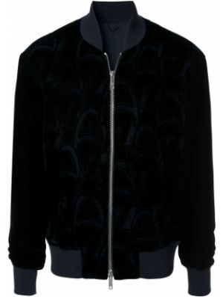 Prążkowana niebieska długa kurtka z długimi rękawami Giorgio Armani
