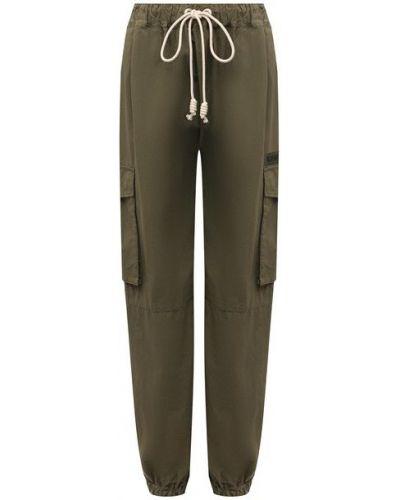 Хлопковые зеленые брюки Palm Angels