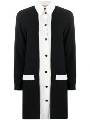 Czarna sukienka długa z długimi rękawami zapinane na guziki Blanca Vita