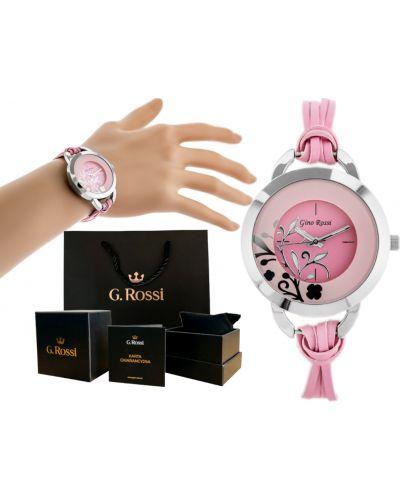 Klasyczny różowy zegarek na skórzanym pasku srebrny Gino Rossi