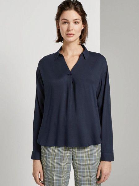 Блузка с длинным рукавом весенний синяя Tom Tailor