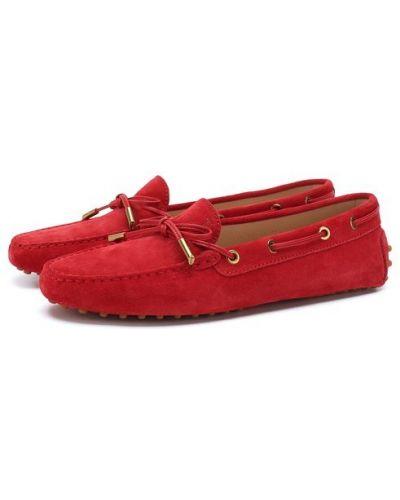 Мокасины красные кожаные Tods