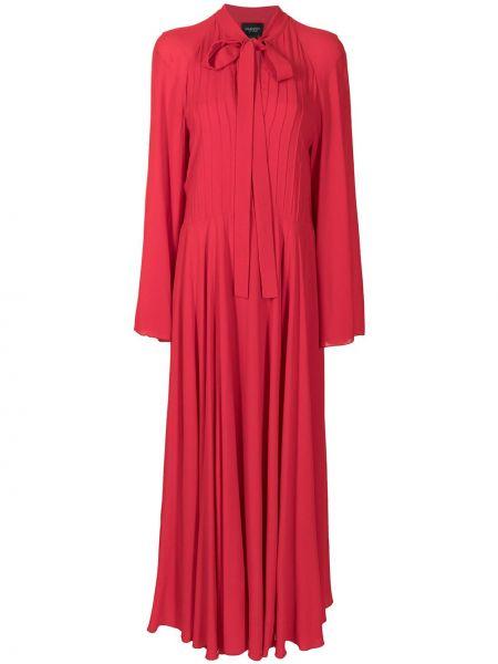 С рукавами красное платье макси в рубчик Giambattista Valli