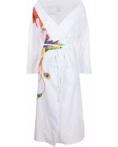 Хлопковое белое платье миди с запахом Stella Jean