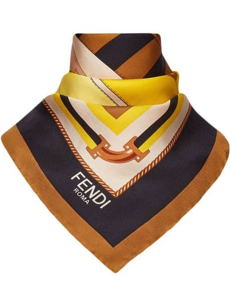 Желтый шелковый платок Fendi
