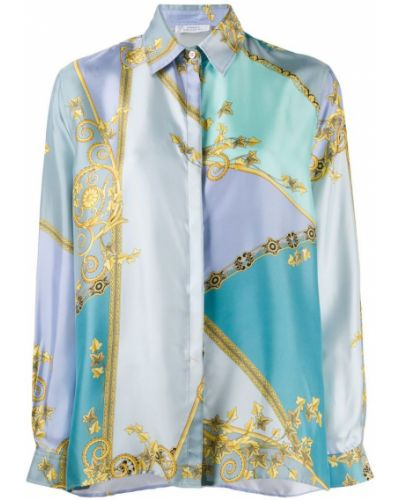 Свободная синяя классическая рубашка на пуговицах Versace Collection