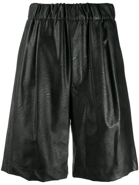 Черные кожаные шорты с карманами Jejia